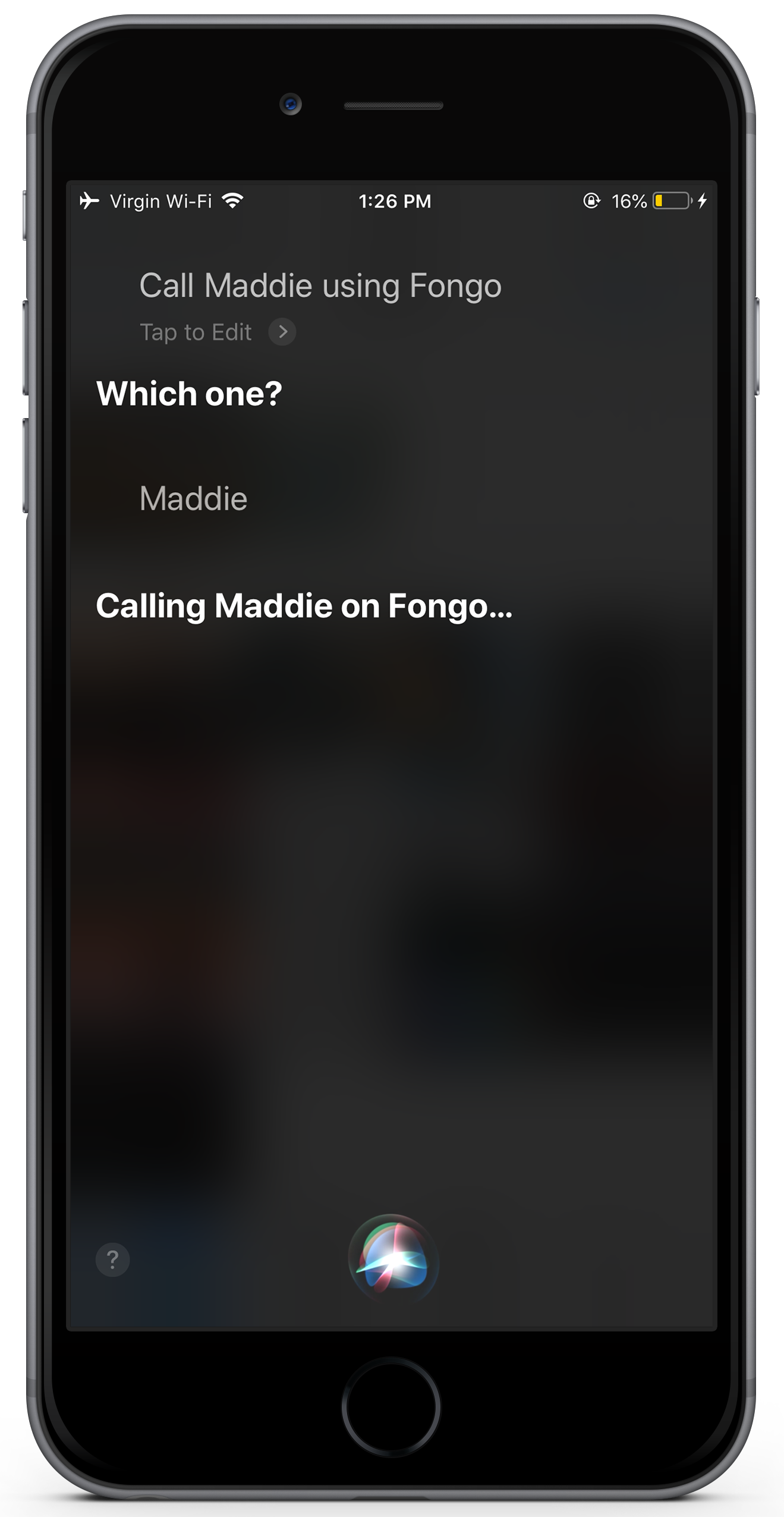 Fongo calling using Siri Screenshot