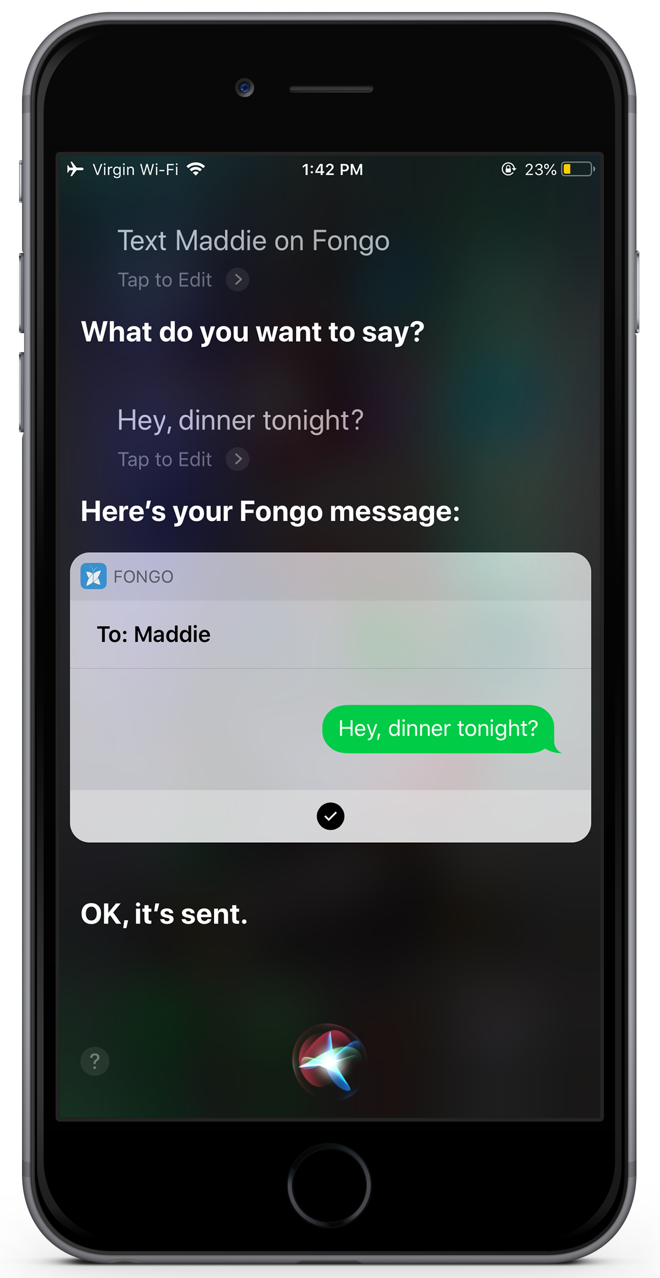 Fongo Siri Messaging Screenshot