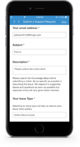 Iphone 6S plus with fongo app, on support screen