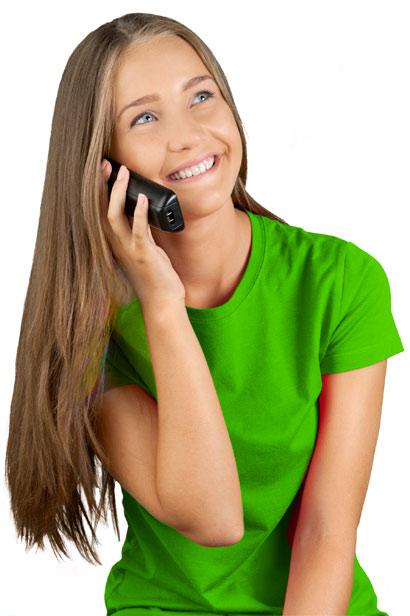 Woman talking on Fongo Home Phone
