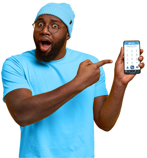 Man holding phone with Fongo Mobile app.