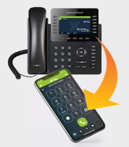 Answer incoming calls on either your desk phone or mobile app