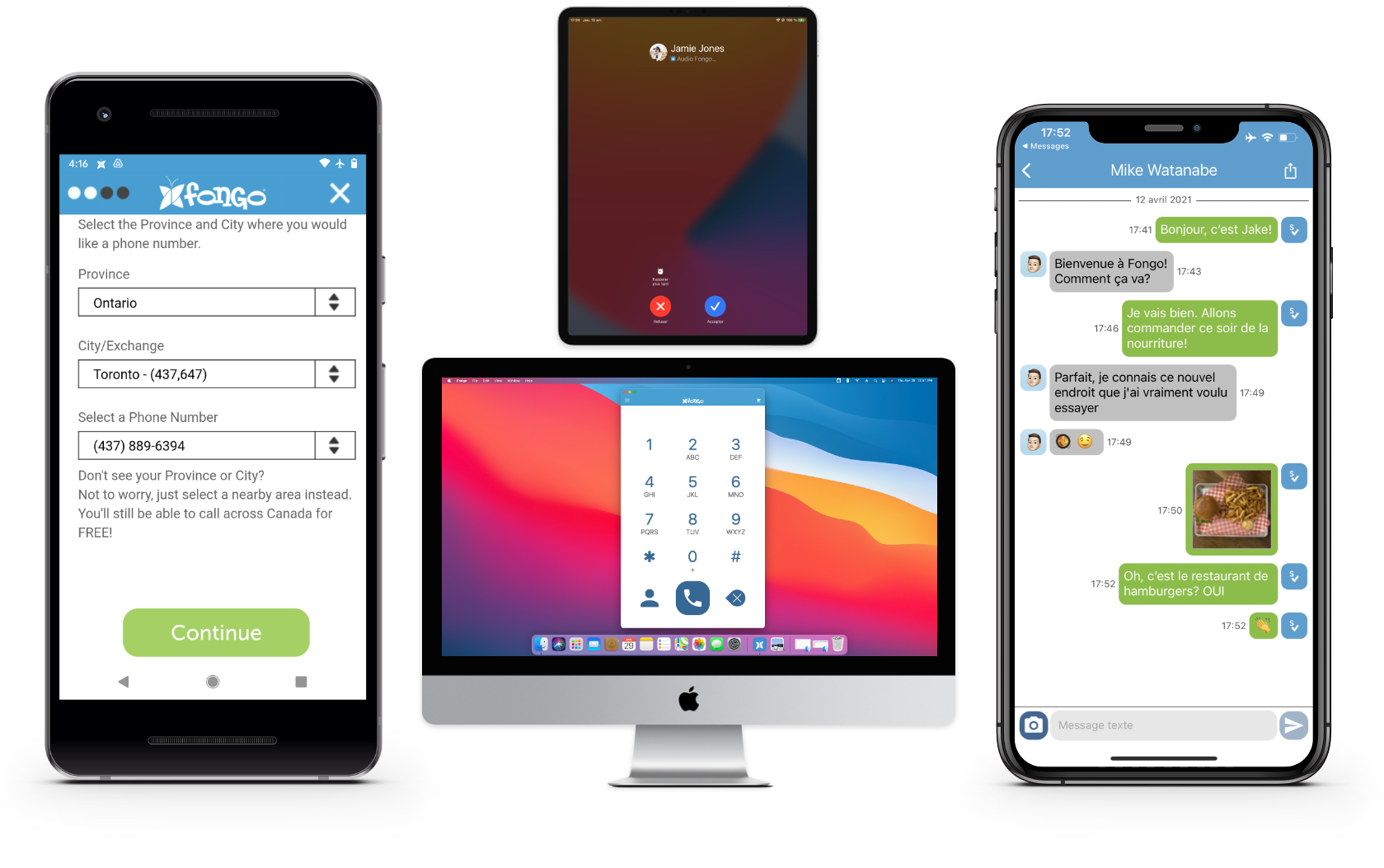 Fongo app being used on 4 different devices.